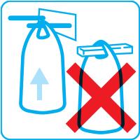 N'utiliser que des fourches rondes ou à bords arrondis pour éviter le cisaillement des anses des sacs.